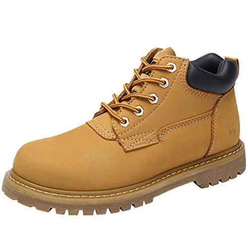 Botas Hombre Para Con Crown Trabajo Zapatos Camel Cuero Moda De Miel Seguridad Calzado Cordones 4Hwxg