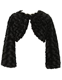 BNY Corner Little Girl Faux Fur Dress Coat Flower Girl Bolero Jacket Winter 2-16