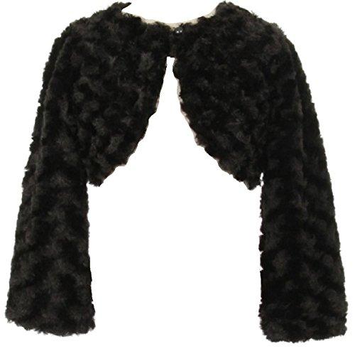 (BNY Corner Big Girl Faux Fur Dress Coat Flower Girl Bolero Jacket Winter Black 12 GG)