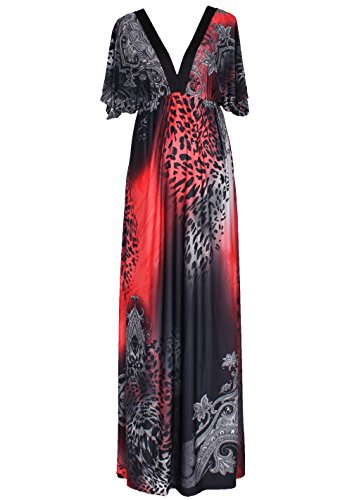 0479ad59810 ... Maxi Dress Plus Size Clothing Summer Leopard Print Deep V with Sleeves  (1X