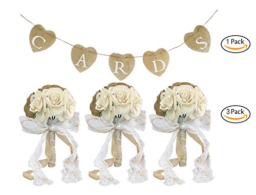 Faylapa 3 Rustic Wedding Bouquet Burlap Flowers Bouquets with Lace and Pearls+1 CARDS Heart Shape Hessian Banner Bunting (Lace Wedding Bouquet)