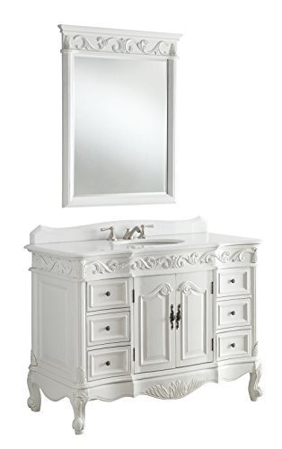 "42"" Antique White Beckham Bathroom sink vanity Cabinet & Mirror SW-3882W-AW-42 - Aw Antique Bathroom Vanity"