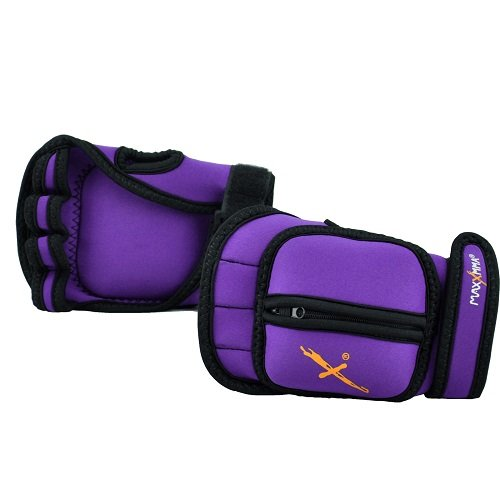 MaxxMMA 5 lbs Adjustable Ankle Weights Pair + 2 lbs Weighted Gloves (Purple)