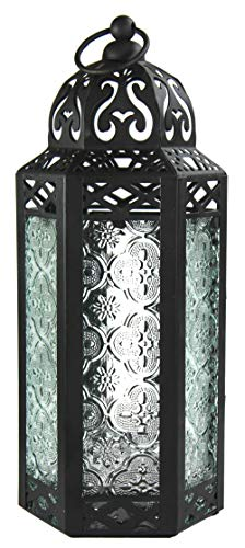 Vela Lanterns Moroccan Style Candle Lantern, Medium, Clear Glass -