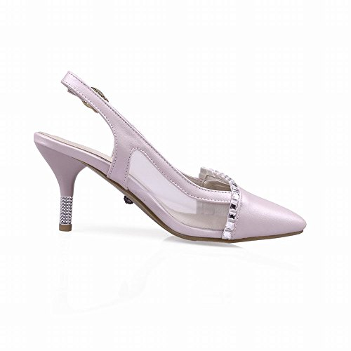 Carolbar Chic Womens Buckle Pointed Toe Voile Mesh Rhinestone Grace High Stiletto Heel Sandals Pink V2TruM