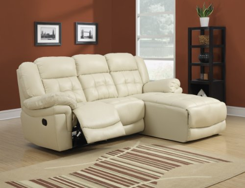 Monarch Bonded Leather/Match Reclining Sofa Lounger, Sand