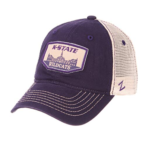 Zephyr NCAA Kansas State Wildcats Men's Trademark Relaxed Cap, Adjustable, Washed Team/White