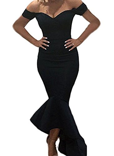 long black fitted prom dresses - 1