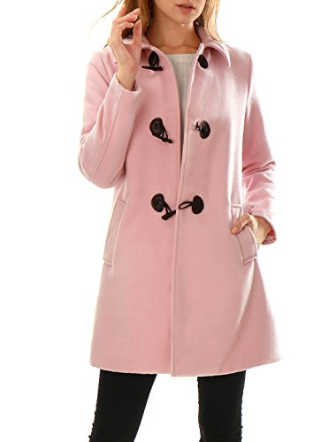 Allegra K Women Toggle Closure Long Sleeves Slant Pockets Worsted Coat L Pink (Pink Coat)