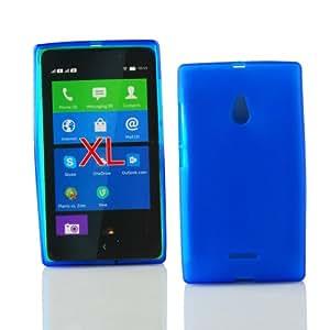 Kit Me Out ES ® Funda de gel TPU + Cargador para coche + Protector de pantalla con gamuza de microfibra para Nokia XL - Azul oscuro Acabado esmerilado