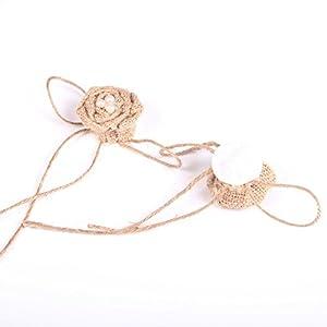 Tinksky Christmas Wedding Embellishments Burlap Pearl Rose Flower Hessian Jute Flower Rustic Vintage,Pack of 9 3