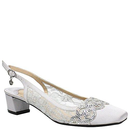 - J. Renee Women's Faleece Low Block Heel Slingback,Steel Gray Lace/Satin,US 9 W