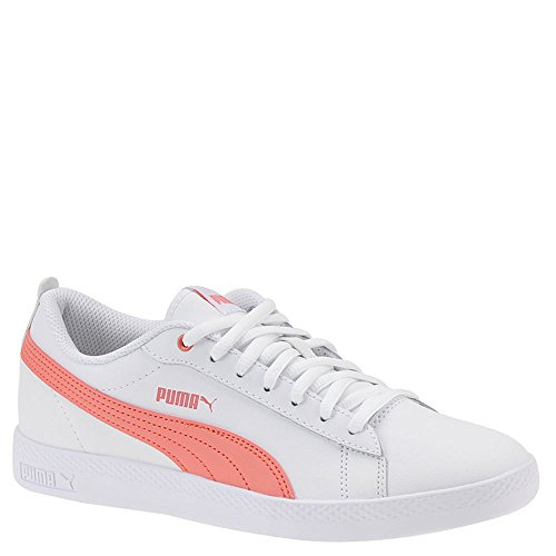 PUMA Women's Smash WNS v2 Leather Sneaker, White-Shell Pink, 7 M US