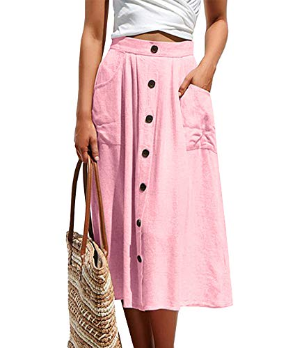 (Women's Casual Solid Button Front High Waist A Line Midi Skirt with Pockets Pink)