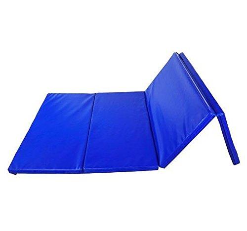 Soozier PU Leather Gymnastics Tumbling/Martial Arts Folding Mat, Blue, 4 x 10' x 2