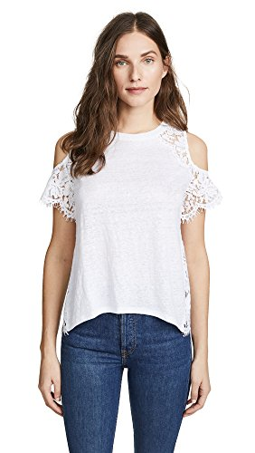 Generation Love Women's London Lace Cold Shoulder Tee, White, Small by Generation Love