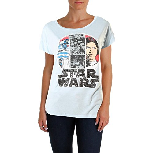 [Star Wars Womens Juniors Studded Graphic Graphic Tee Blue M] (Cheap Star Wars Shirts)