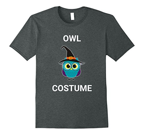 Cute Owl Halloween Costumes (Mens Cute Owl Witch Hat Costume Halloween T-Shirt Bird Tee Medium Dark Heather)