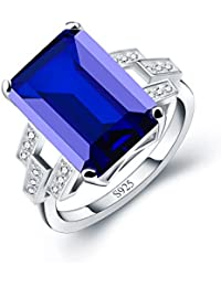 Women 9.4ct Blue Created Sapphire Ring Engagement Wedding Jewelry 925 Sterling Silver