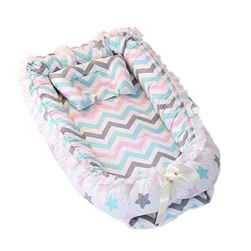 Abreeze Ruffled Baby Bassinet for Bed -Colorful Stars Baby Lounger - Breathable & Hypoallergenic Co-Sleeping Baby Bed - 100% Cotton Portable Crib for Bedroom/Travel
