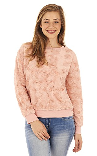 Crew Ribbed Sweatshirt (WallFlower Women's Faux Fur and Ribbed Crew Neck Sweatshirt, Rose, S)