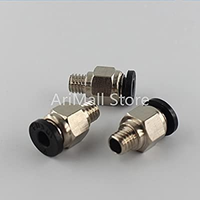 WillBest 3D Printer Parts 10pcs 3D Printer Pneumatic Fittings PC4-M6 Bore 4mm for Teflon Tube 4mm Hotend Extruder Connector Coupler