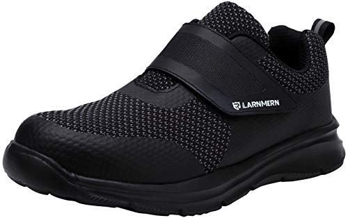 LARNMERN Steel Toe Shoes Women, Womens Safety Shoes Kevlar Anti-Piercing Reflective Strip Magic Tapes Sneakers Light Weight Breathable Work Footwear LM121 (8 US, Black)