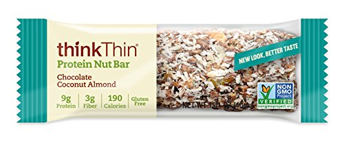 Protein Nut Bar by thinkThin - On The Go, 9g Protein, Gluten Free, Non-GMO - Chocolate Coconut Almond (10 Bars)