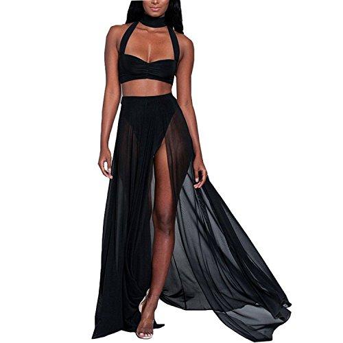 Women's Strap Chiffon Mesh Slit Crop Top Skirt 2 Pieces Beachwear Maxi Long Dresses X-Large Light LUE