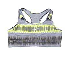 NIKE Women's Pro Printed Bra (Grey/Green, XL)