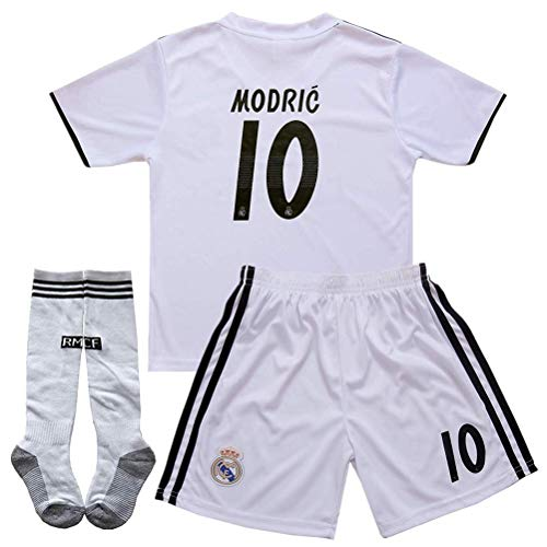 Luka Modric #10 New 2018-2019 Real Madrid Home Kids/Youth Socce Jersey Matching & Shorts & Socks Color White Size 9-10Years/24