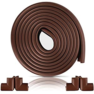Furniture Edge and Corner Guards   16.2ft Protective Foam Cushion   15ft Bumper 4 Adhesive Childsafe Corners   Baby Child Proofing Foam Set and Safe for Table, Fireplace, Countertop   Brown