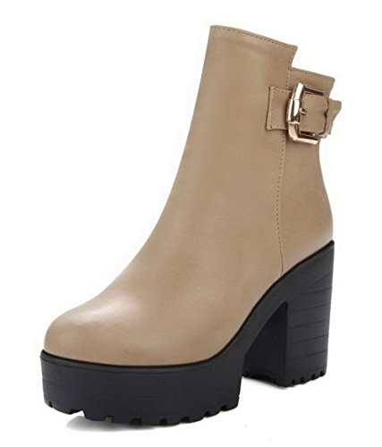 High Zipper Women's Closed Boots Round Solid AgooLar Heels Top Apricot Toe Low qp1w71A8