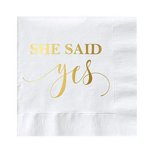 She Said Yes Bridal Shower Napkins, Gold Foil Napkins for Bridal Shower, Engagement Party Decor, White and Gold Fold, Cocktail Napkins, Beverage Napkins, She Said Yes -