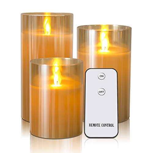 Flameless Candles Flickering With Remote Timers - Kithouse LED Candles Battery Operated Electric Candles - 4 5 6 Real Wax Not Plastic Pillar Candles, Set Of 3