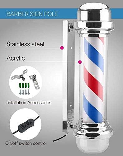 YLJYJ LUBANC Flat Top LED Barber Pole Lamp Équipement de Salon Bleu Rouge Blanc Rayures Rotatif et Lumineux Light Barber Shop Sign 90 CM