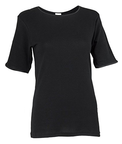 Rosette Women's Classic Short Sleeve Crew Neck Tee Undershirt, 100% Cotton, XX Large, Black ()