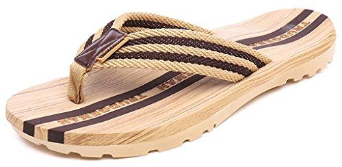 Eagsouni Mens Womens Striped Non-Slip Flip Flops Sandals Summer Beach Shower Casual Slippers Walking Shoes Size 3-8.5 Brown zTUrgJ