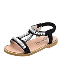 Girls novel shoes sandals toddler kids baby pearl crystal single print shoes