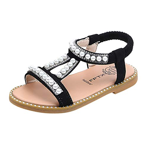 Toddler Infant Kids Baby Girls Sandals Rubber Sole Summer Shoes Pearl Crystal Princess Roman Single Shoes Black ()
