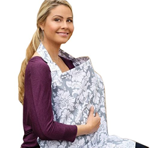 Janeyer Pure Cotton Infinity Breastfeeding Scarf & Nursing Cover Floral Print,Lightweight Fig Leaf No See Through (C)