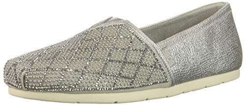 (Skechers BOBS Women's Luxe Bobs-Pears and Rhinestone Slip on Ballet Flat, Silver, 6 M US)