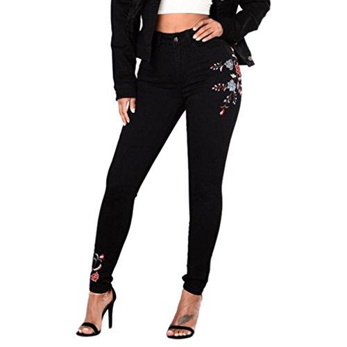 Vaqueros Ajustados Largo Con Bordados Para Mujer, LHWY Pantalones Vaqueros Skinny LáPiz Cintura Alta Talla Grande