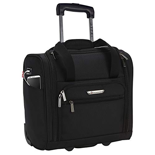 "TPRC 15inch Under Plane Seat ""The Rafael"" Luggage Made of Top Durable Fabric Constructed for Millions of Travel Miles-Black"