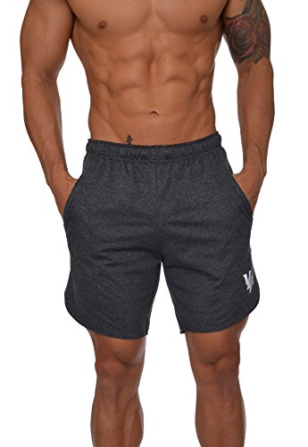 YoungLA Men's Running Shorts Athletic Gym Jogging Workout Powerlifting with Front Pockets 104 Charcoal Medium