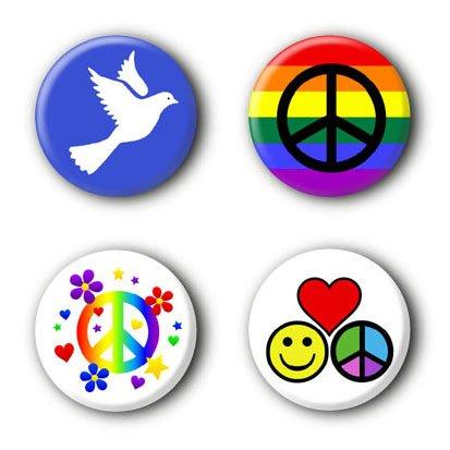 4 Peace Buttons Ansteckbuttons #4 2,5cm