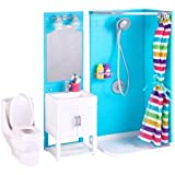 myLife Brand Products My Life As 17-Pieces Bathroom Play Set with Shower and Light-Up Vanity, Great for Your 18' Doll!