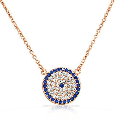 925 Sterling Silver Rose Gold-Tone Womens Evil Eye Hamsa White Blue CZ Pendant Necklace