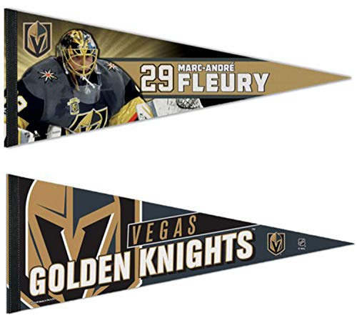 WinCraft Bundle 2 Items: NHL Las Vegas Golden Knights 2 Premium Pennants, 1 Marc-Andre Fleury and 1 Action Logo, 12x30 inches