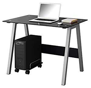 SixBros. Mesa de ordenador Vidrio/Negro - CT-3359/36 - Vidrio negro - Estructura gris plateado